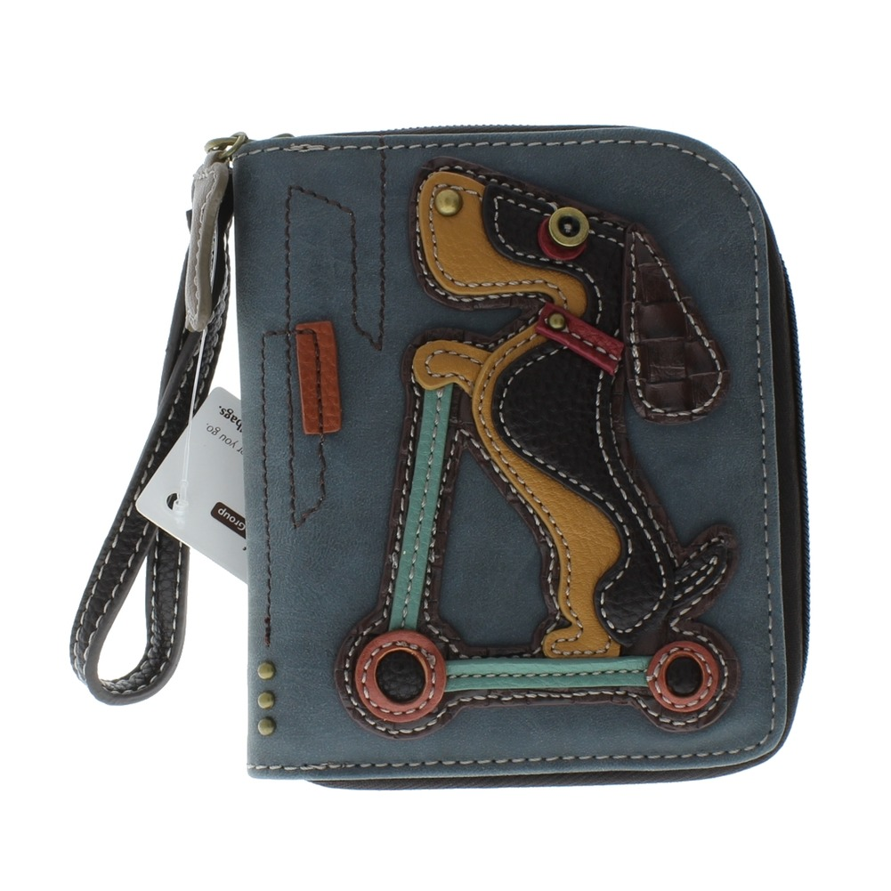 Charming Chala Playful Wiener Puppy Dog  Purse Wallet Credit Cards Coins Wristlet