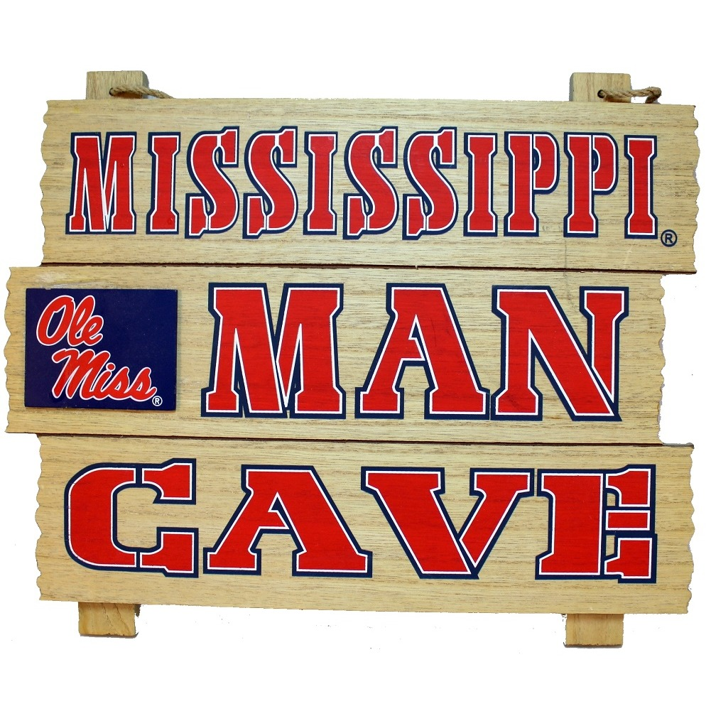 Mississippi Man Cave Ole' Miss Wooden Bar Man Cave Team Sign
