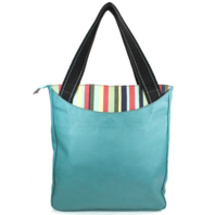Charming Chala Purse Handbag Striped Zip Tote Totally Turtle Leather Bag