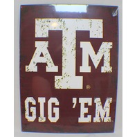 Texas A&M A And M Aggies Gig 'Em Distressed Metal Sign Wall Plaque New