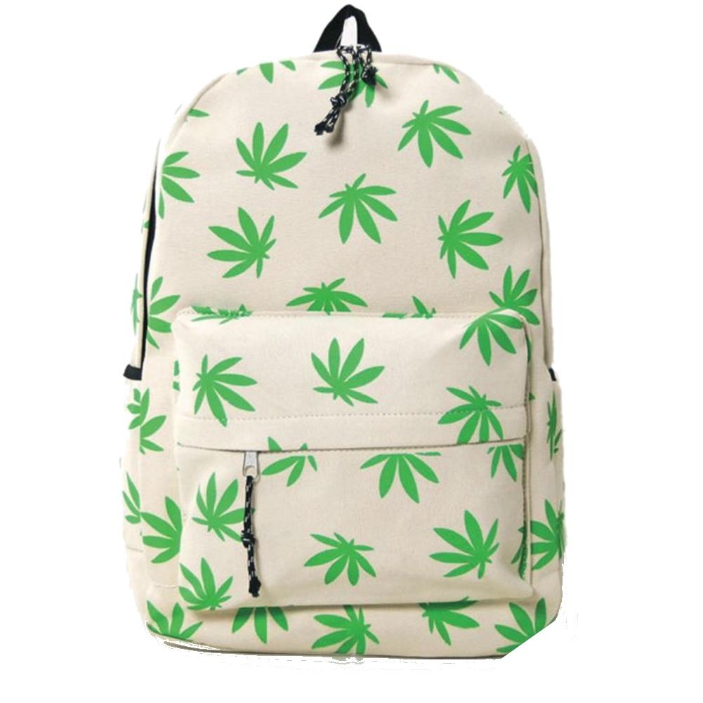 Fresh Green Palmate Leaves Beige Canvas Backpack Satchel Bag