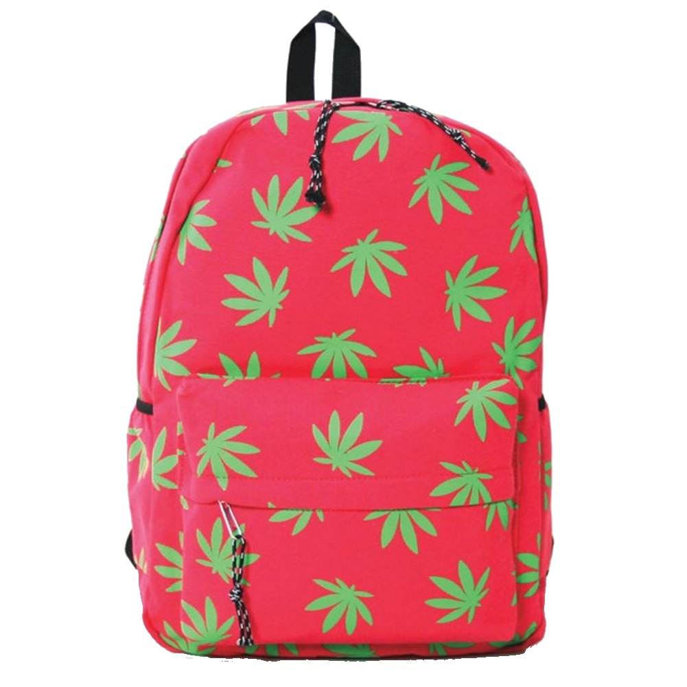 Fresh Green Palmate Leaves Fuchsia Canvas Backpack Satchel Bag
