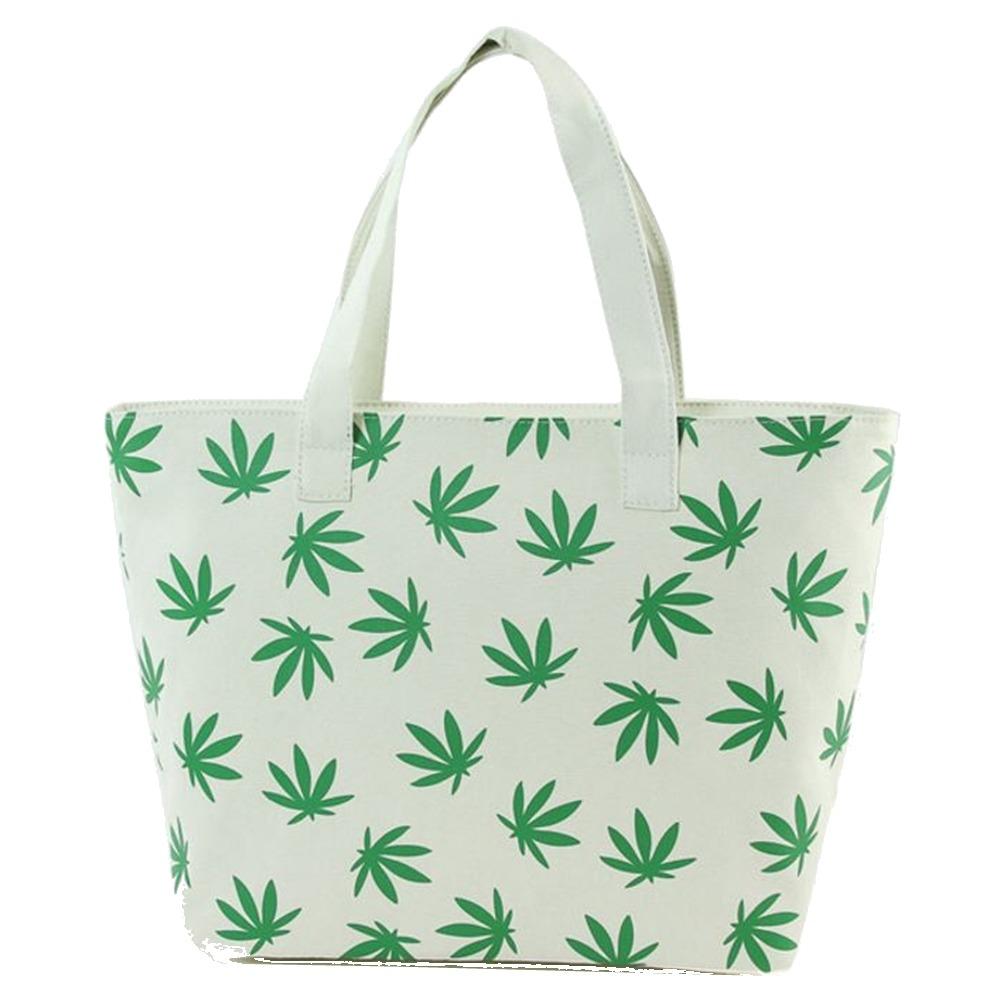 Fresh Green Palmate Leaves Printed on Canvas Tote Handbag Bag Purse