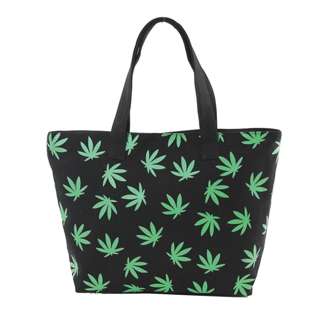 Fresh Green Palmate Leaves Printed on Black Canvas Tote Handbag Bag Purse
