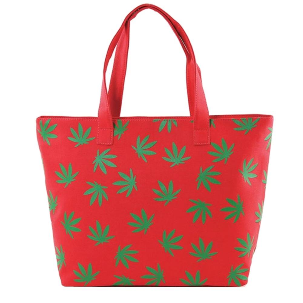 Fresh Green Palmate Leaves Printed on Fuchsia Canvas Tote Handbag Bag Purse