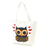 Lovely Owl Screen Print On Canvas Tote Bag Handbag Purse