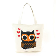 Lovely Owl Screen Print On Canvas Tote Bag Handbag Purse