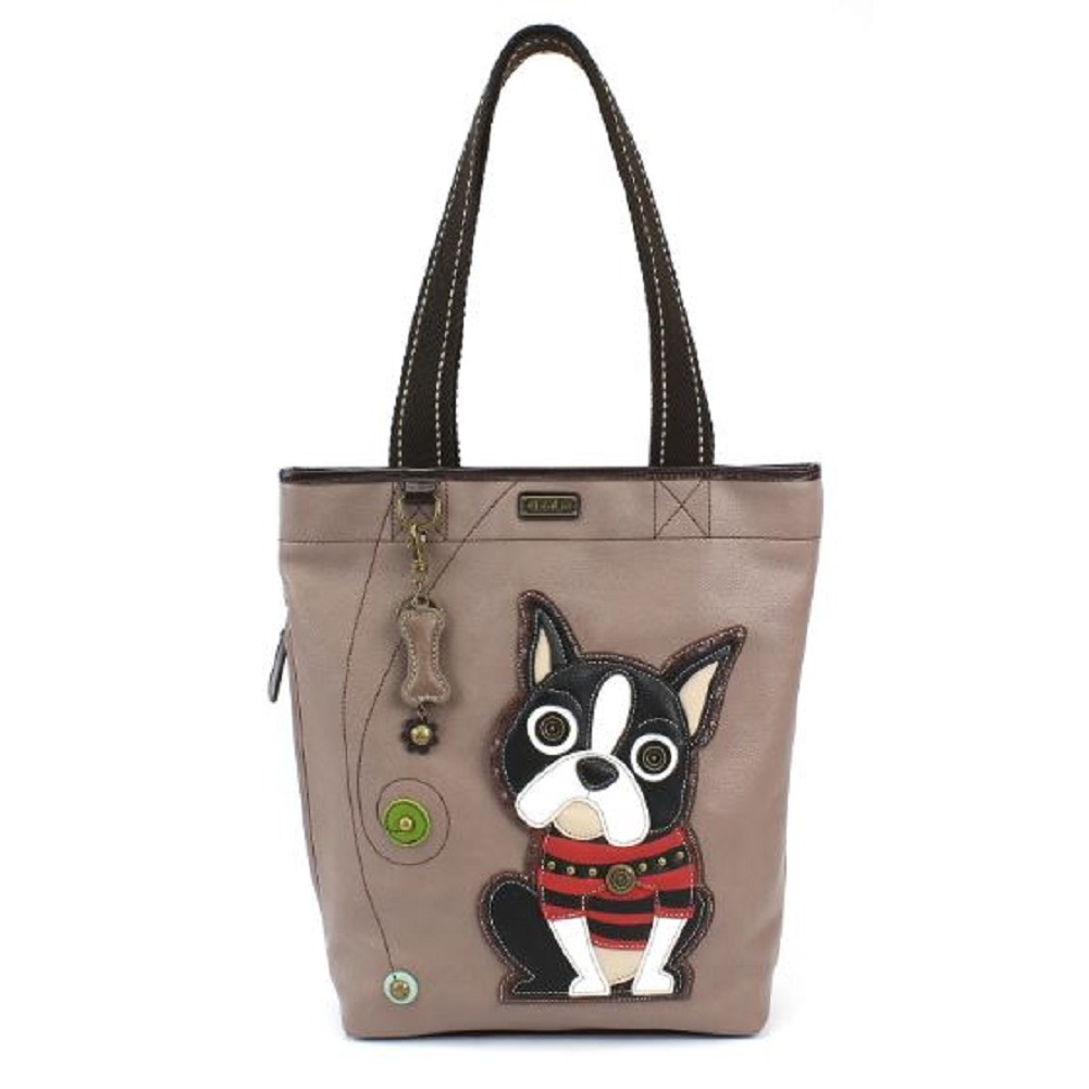 Chala Purse Handbag Everyday Zip Tote II Boston Terrier Puppy Dog Faux Leather