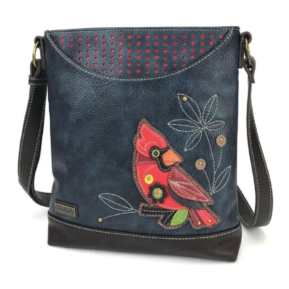 Chala Red Cardinal Sweet Messenger Bag Purse  Handbag Navy Faux Leather
