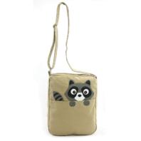 Sleepyville Peeking Raccoon Messenger Purse Canvas Bag