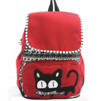 Sleepyville Cat with Fish Backpack Purse Canvas Red White and Black