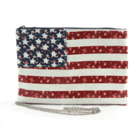 Floral Americana Clutch in Coated Canvas Wristlet Wallet Coin Purse Bag Flag