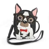 Sleepyville Critters Nerdy Boston Terrier Crossbody Bag Handbag Puppy Dog Purse