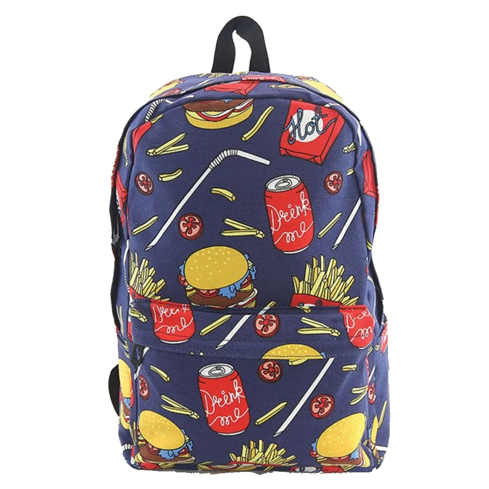 Hamburger Fries Coke Fast Food Inspired Canvas Backpack Satchel Bag