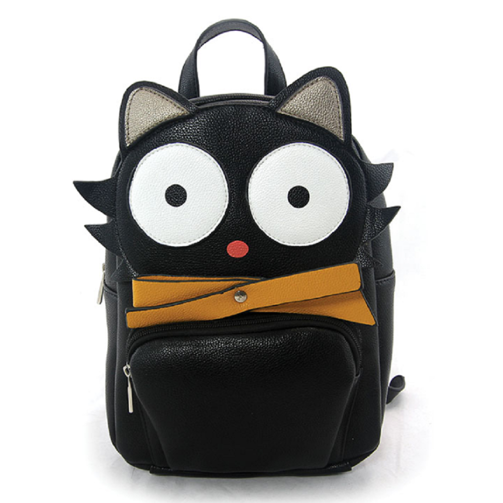 Sleepyville Critters Mini Black Cat Backpack Purse in Vinyl Material
