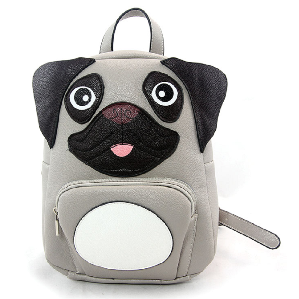 Sleepyville Critters MiniPug Puppy Dog Backpack Purse in Vinyl Material