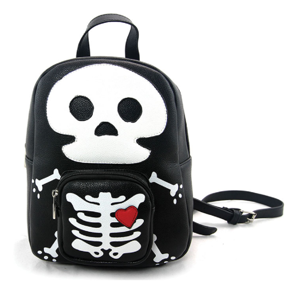 Sleepyville Critters Mini Skeleton Man Backpack Purse in Vinyl Material