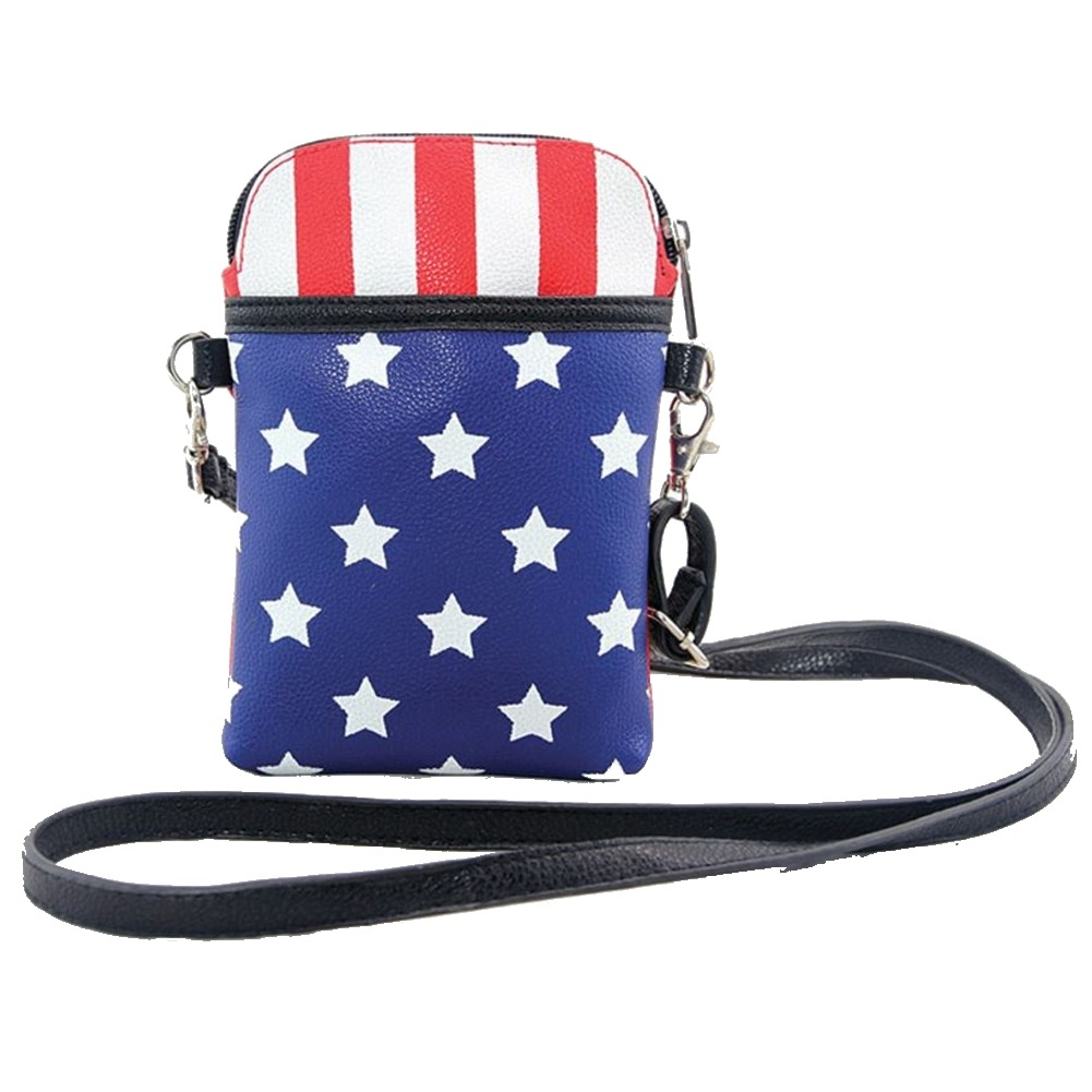 Sleepyville Critters Americana Flag Stars and Stripes Cross Body Handbag Purse