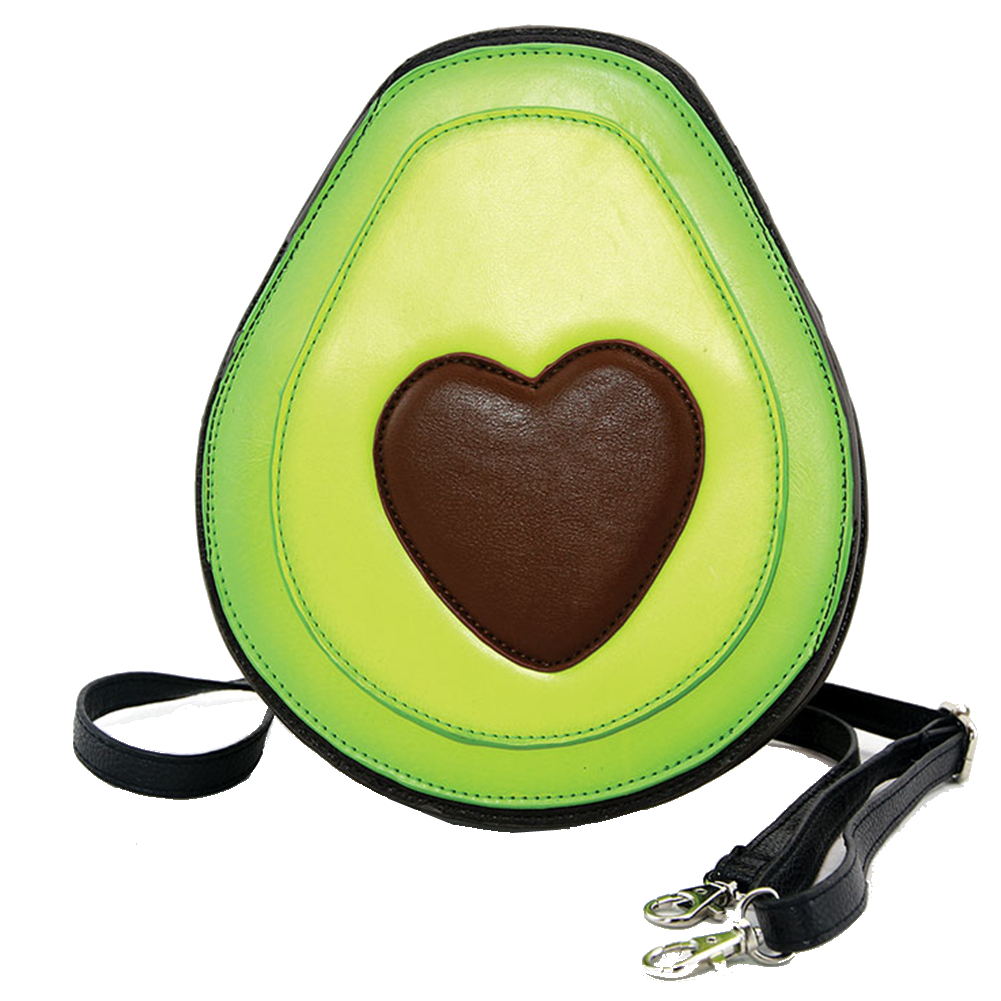 Sleepyville Critters Avocado Have a Heart Crossbody Bag in Vinyl Material