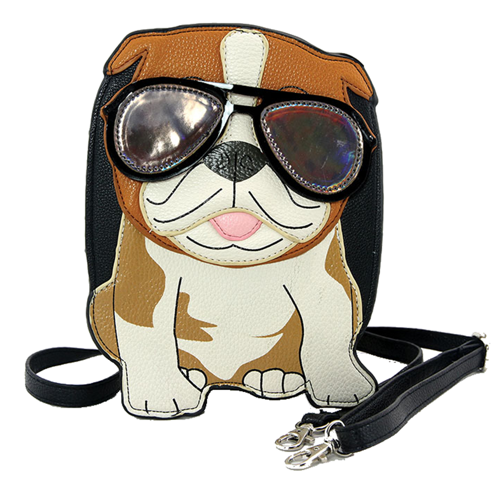 Sleepyville Critters Cool Bulldog with Sunglasses Crossbody Bag in Vinyl Material