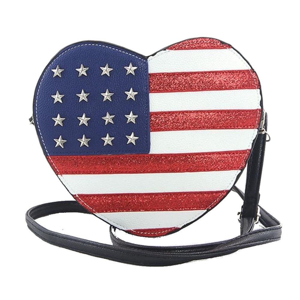 Sleepyville Critters Americana Heart Cross Body Shoulder Bag Handbag Purse