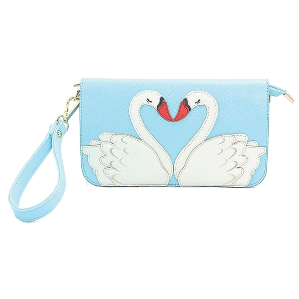 Sleepyville Critters Kissing Swans Wristlet Cross Body Shoulder Bag Handbag Purse