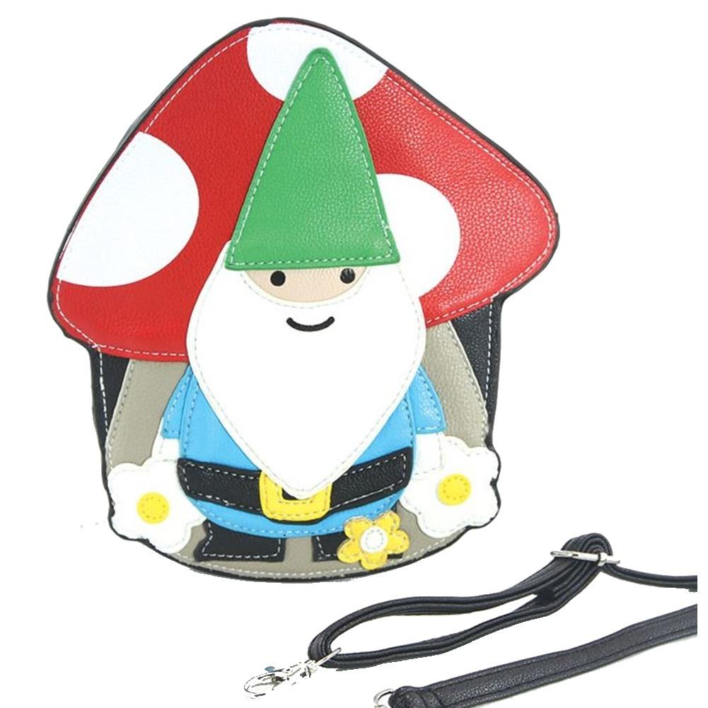 Whimsical Charming Gnome with a Mushroom Cross Body Purse Handbag