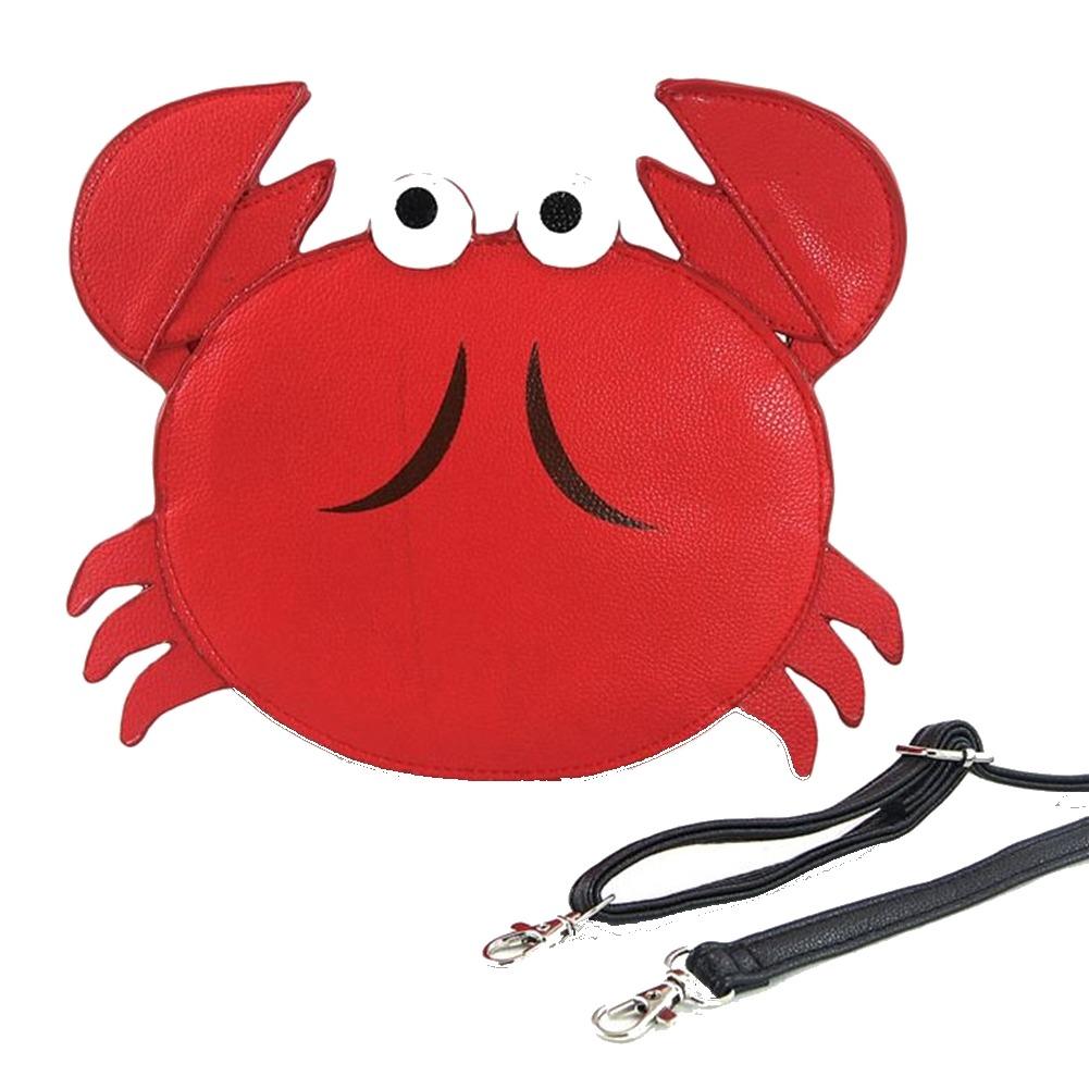 Whimsical Charming Red Mr. Crab Nautical Cross Body Purse Handbag