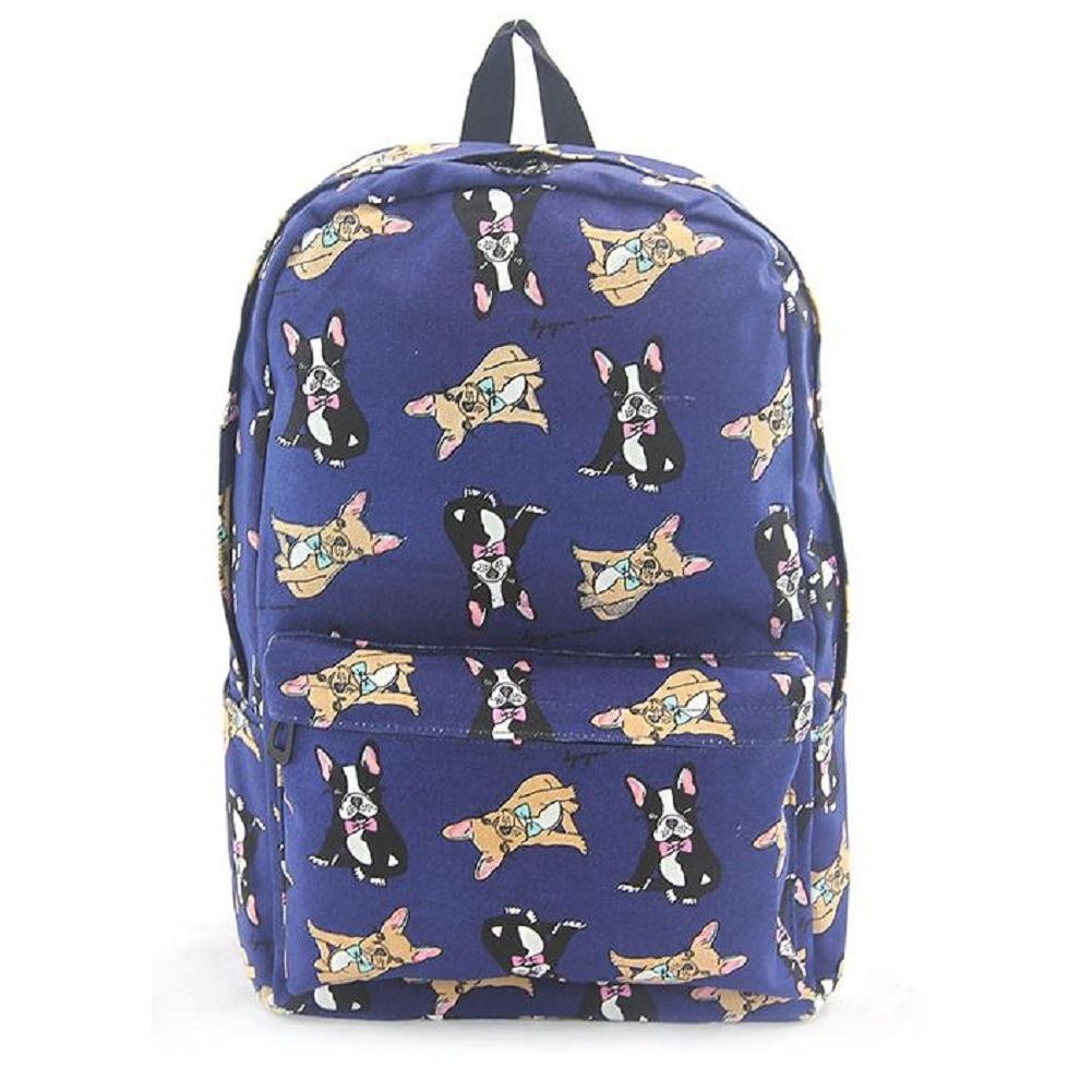 Boston Terrier Puppy Dog Backpack Canvas Backpack Satchel Bag