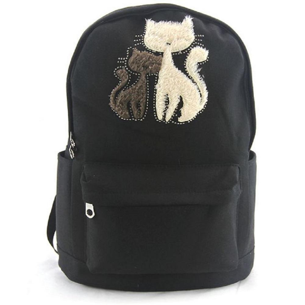 Furry Cat Kittens Backpack Canvas Backpack Satchel Bag