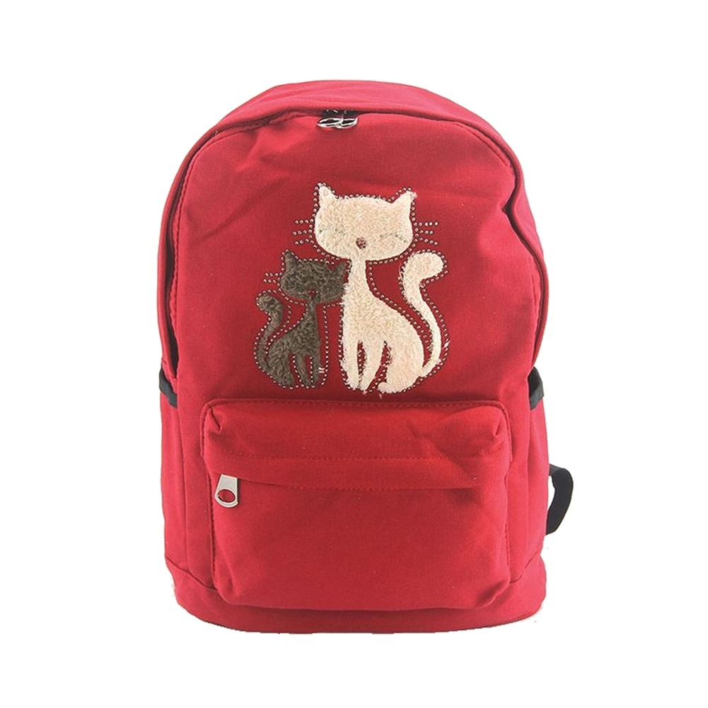 Furry Cat Kittens Backpack Canvas Backpack Satchel Bag in Red