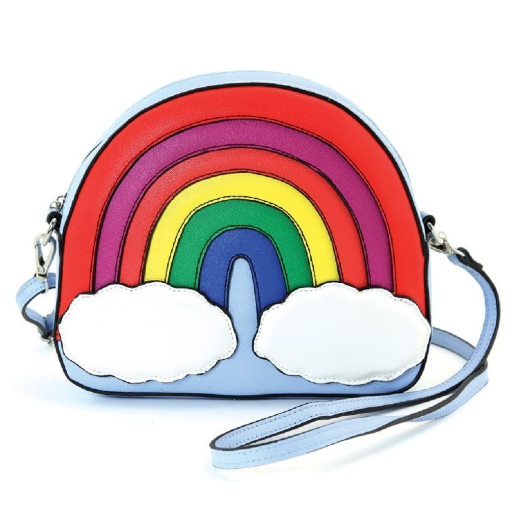 Sleepyville Critters Rainbow and Clouds Crossbody Bag in Vinyl Material