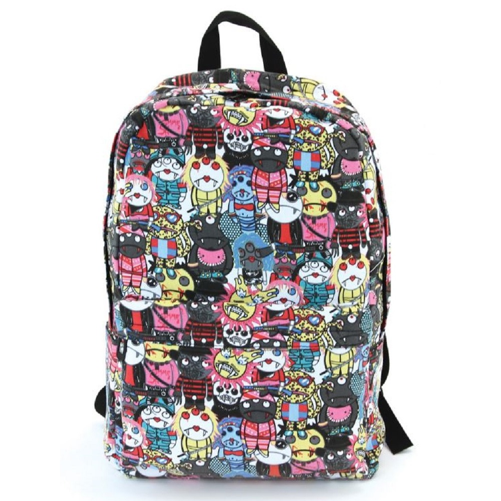 Monster Medley Canvas Backpack Satchel Bag
