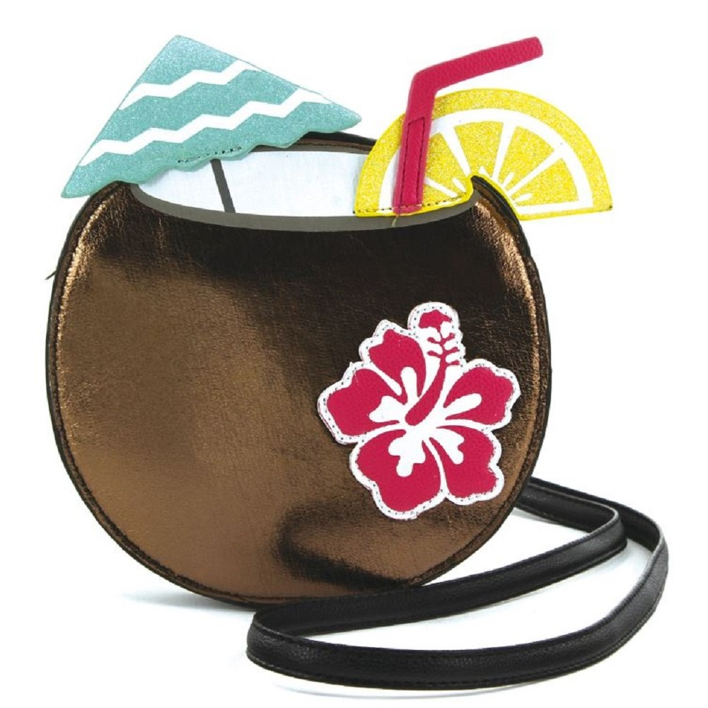 Sleepyville Critters Tropical Coconut Drink Crossbody Bag in Vinyl Material