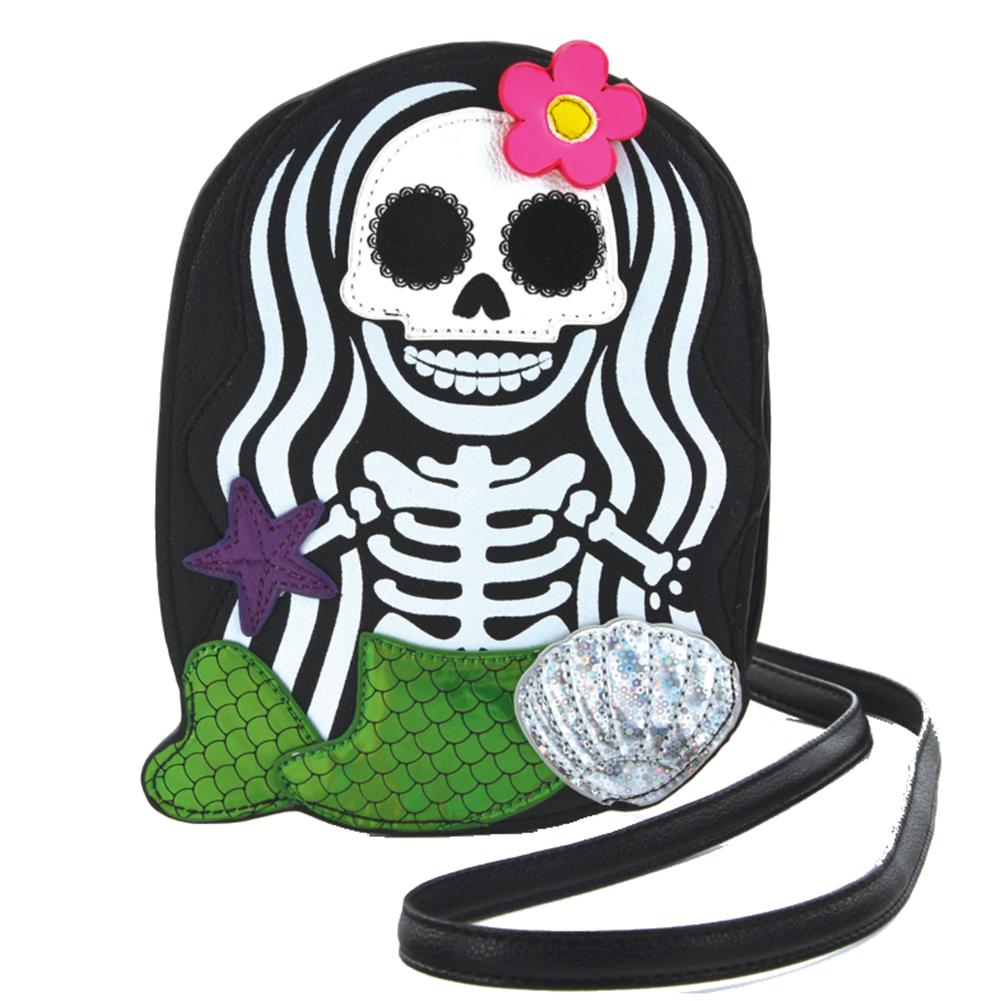 Sleepyville Critters Skeleton Skull Mermaid Crossbody Bag in Vinyl Material