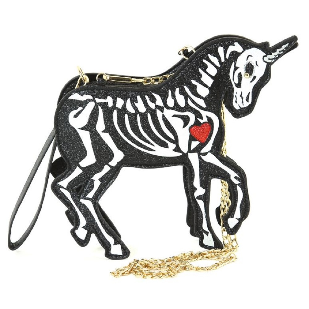 Sleepyville Critters Unicorn Skeleton Crossbody Bag in Vinyl Material