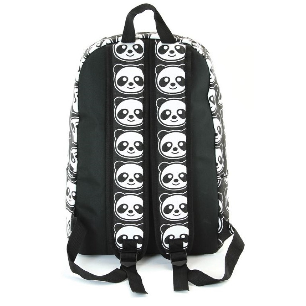 The Black and White Smiling Panda Canvas Backpack Satchel Bag