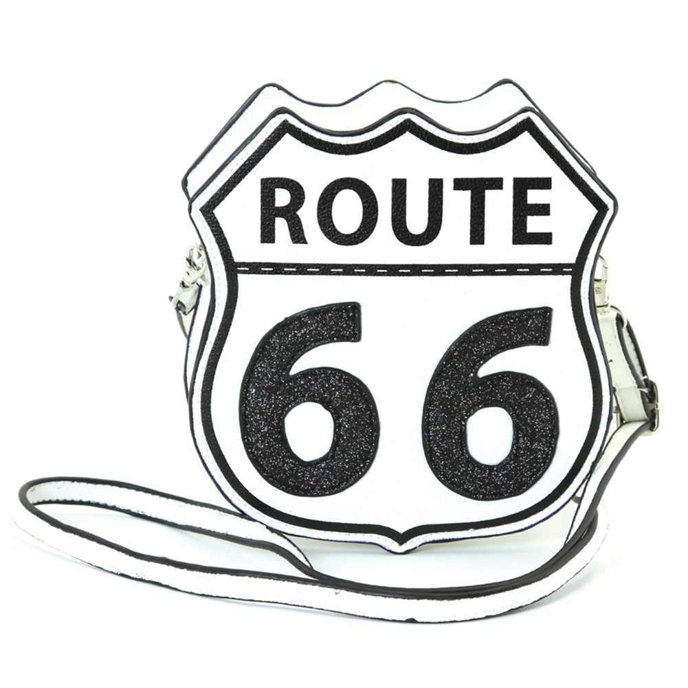 Sleepyville Critters Route 66 Street Sign Emblem Crossbody Bag in Vinyl Material