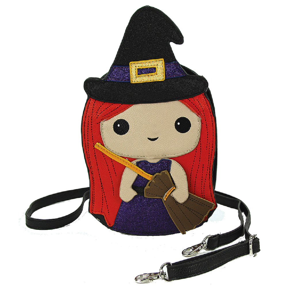 Sleepyville Critters Benevolent Halloween Witch Little Girl Crossbody Bag in Vinyl Material
