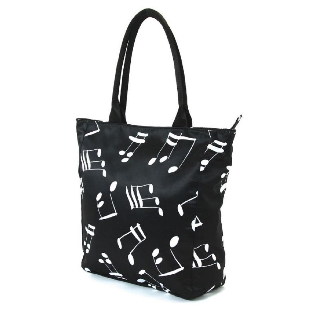 Musical Notes Printed on Black Canvas Tote Handbag Bag Purse
