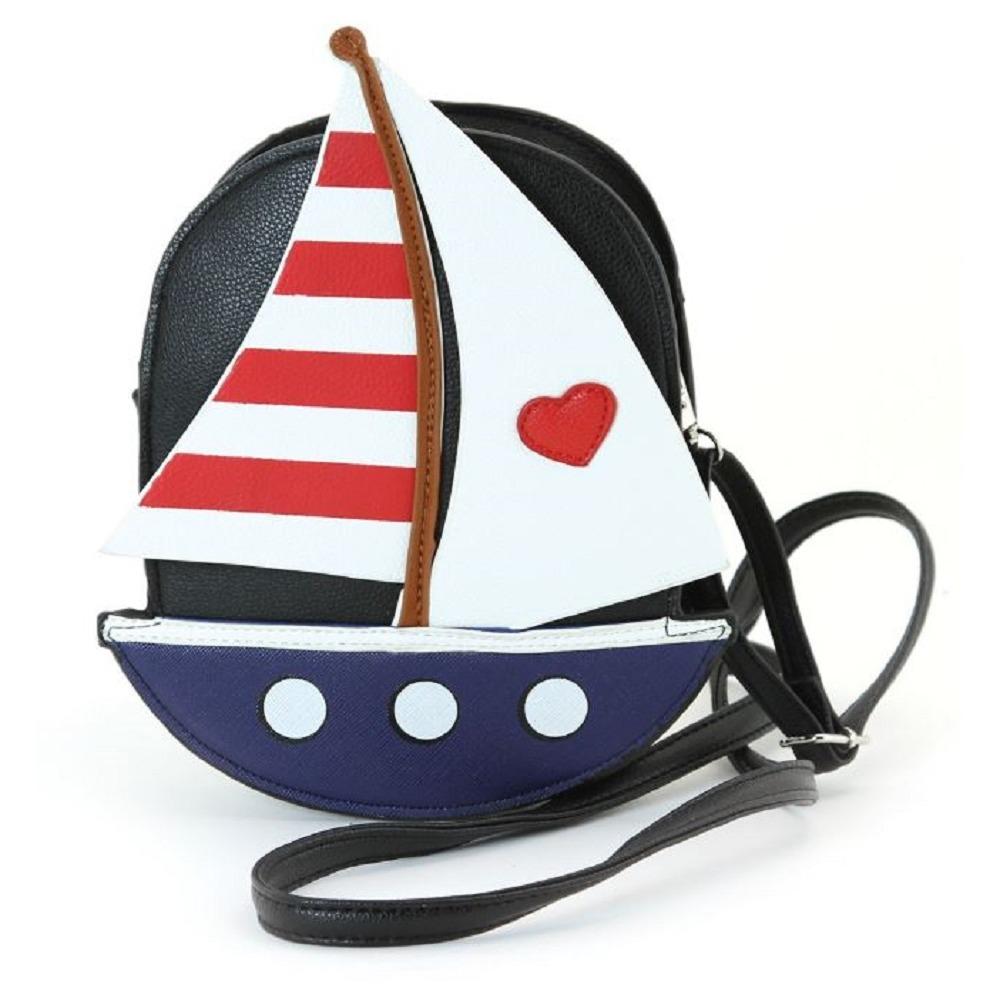 Sleepyville Critters Nautical Ocean Sailboat Boat Crossbody Bag in Vinyl Material