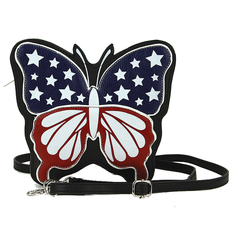 Sleepyville Critters Americana Flag Butterfly Crossbody Bag in Vinyl Material