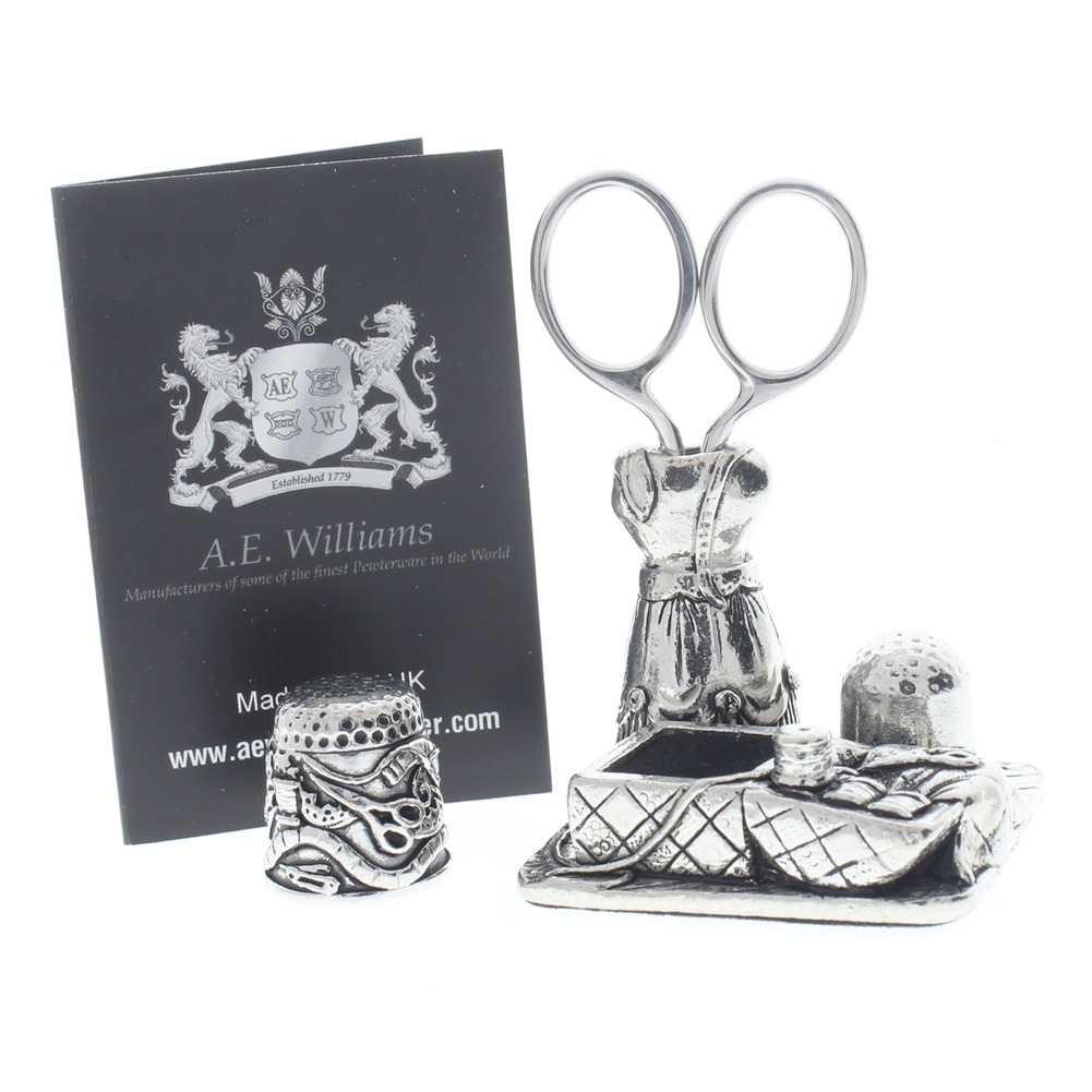 A.E. Williams Sewing Station Pewter Mannequin Thimble Scissors Pin Cushion