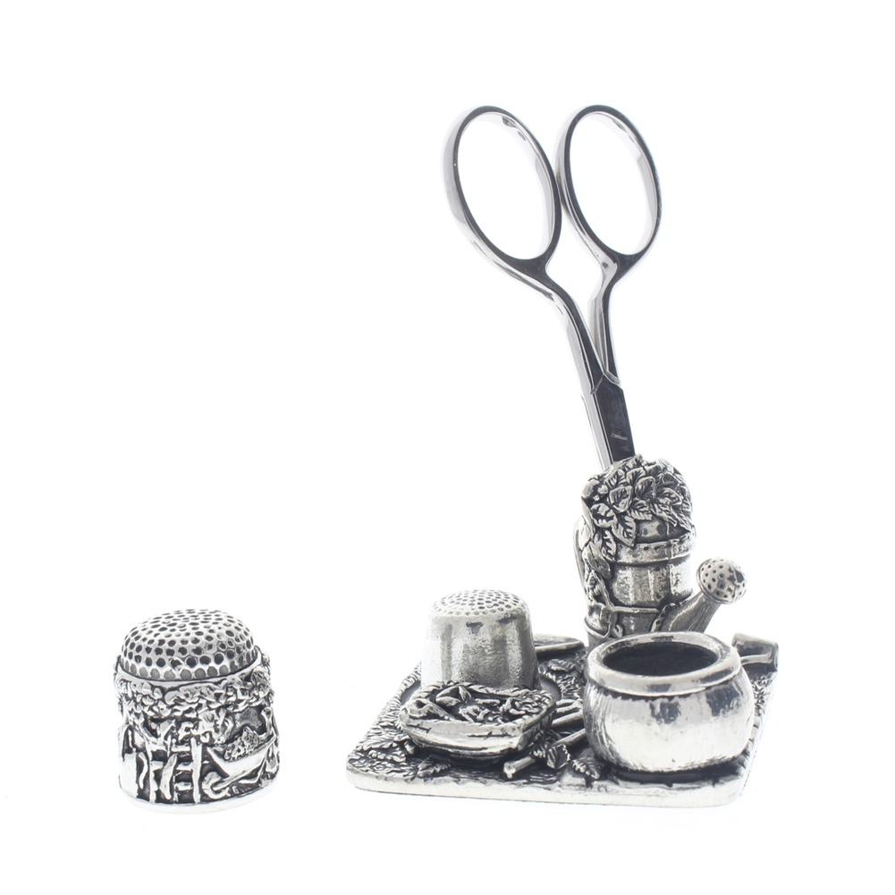 A.E. Williams Sewing Station Pewter In the Garden Thimble Scissors Pin Cushion