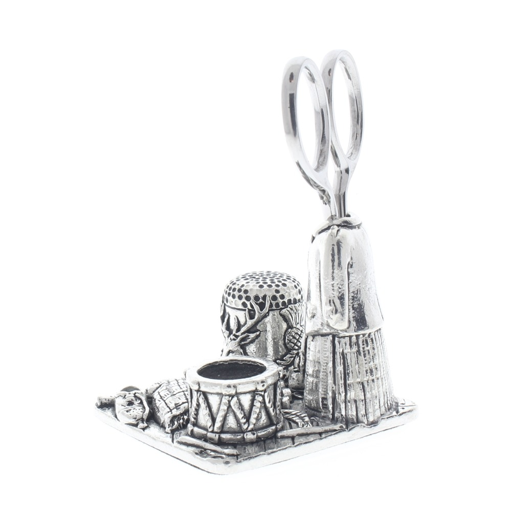 A.E. Williams Sewing Station Pewter Kilt Thimble Scissors Pin Cushion