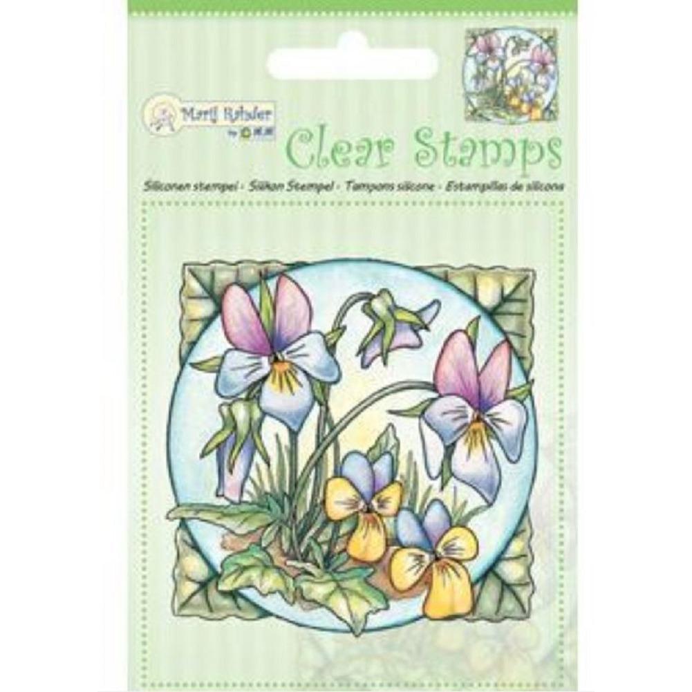 Marij Rahder Violets Flowers Garden Botanical Scene Cling Rubber Stamp