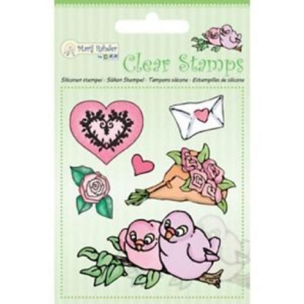Marij Rahder Love Birds Roses Flowers Hearts Love Cling Rubber Stamp