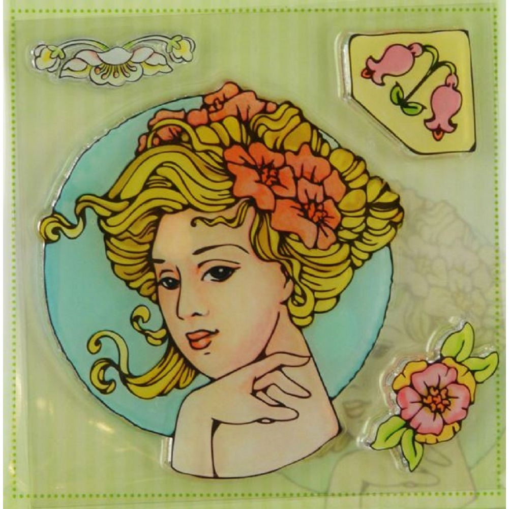 Marij Rahder Gibson Girl Victorian Flowers Woman Lady Set Cling Rubber Stamp