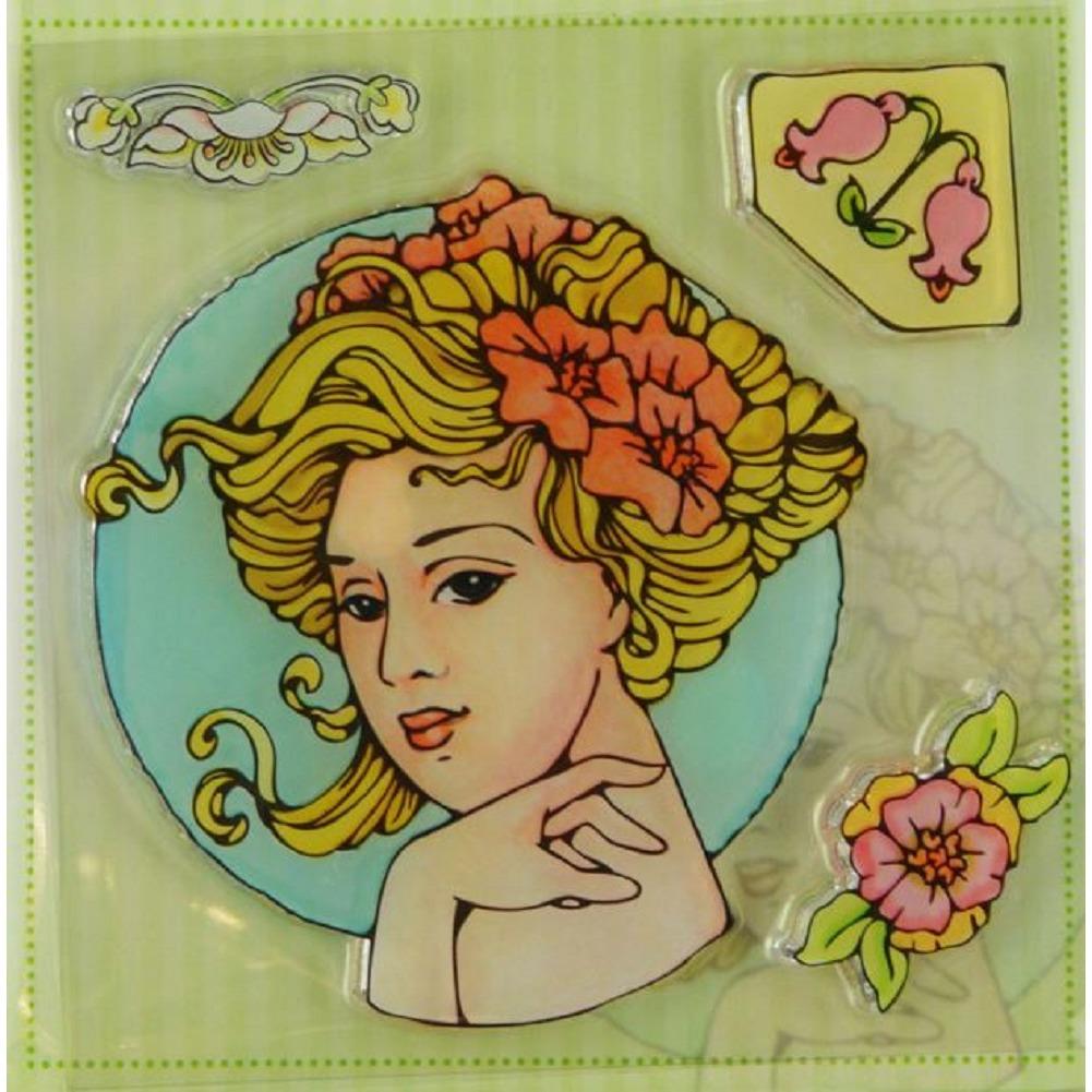 Marij Rahder Gibson Girl Victorian Flowers Woman Lady Set Cling Rubber Stamp