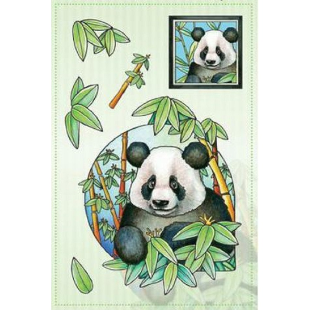 Marij Rahder Panda Bear with Eucalyptus Tree Plant Set Cling Rubber Stamp